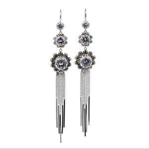 Elegant silver flower tassel earrings
